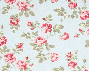 90437 Tanya Whelan Scattered roses in Blue home dec fabric  - 1 yard
