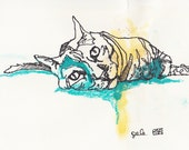 Original Sketch of a Cat,...