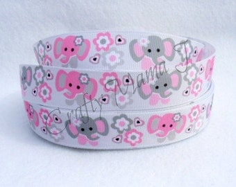 "Elephants Pink & Gray on White 7/8"" Grosgrain Ribbon by the yard. Choose between  3/5/10 yards."