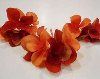 Orange Hydrangea Blooms / Flowers / Silk Flowers / Silk Floral / Crafting Flowers / Artificial Flowers / DIY Hair Flowers / Silk Hydrangeas