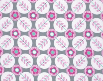 LAMINATED cotton fabric (similar to oilcloth) by the yard - Floradots gray La Dee Da - WIDE - BPA free - Approved for children's products