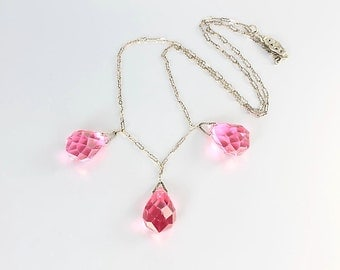 Pink Art Deco Necklace, Crystal Briolette Necklace, Paper clip chain 16.5 inch, antique jewelry