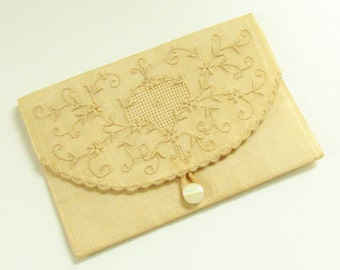 Antique Victorian Embroidery Open Work Fine Silk Pouch Purse Wallet Hand Made