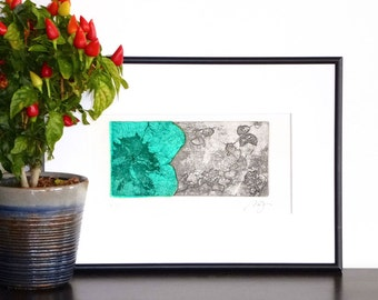 Original Etching Print Mixed Media PRINCESS Fairy Floral Aquatint Printmaking Garden Wall Decor Fine Art Collage Engraving Print 10x7