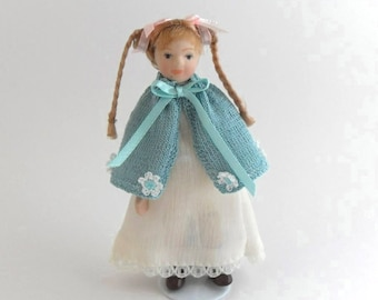 Dollhouse Miniature Doll's Cape, 1:12 Scale Hand Knit with  Crocheted Flowers in Turquoise and White