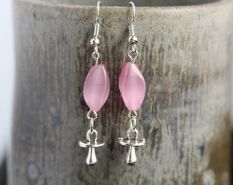 Back from vacation sale - Pink Cats Eye Pacifier Earrings - Item 1626