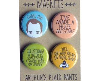 Arrested development, Gob Bluth badges, Gob Bluth pinback buttons, Arrested Development magnets