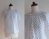 Vintage Peasant Blouse - 1970's Dotted Blouse  - Size S
