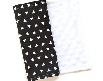 Baby Burp Cloth Black Triangle Remix - Minky Burp Cloth - Black Burp Cloth - Baby Shower Gift - Monochrome Burp Cloth - Triangle Burp Cloths