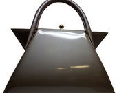 """Vintage 50s ILA of California Large 16-inch Dove-Gray Patent MOD Bag with """"Wings""""  Reserved for Heather!"""