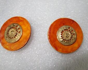 Vintage YSL Yves Saint Laurent Orange Earrings