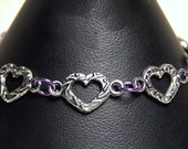 Small Pewter Heart Bracelet with 0.urple Links