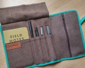 Roll up travel organizer /resined canvas  chocolate brown roll up // adults pencil case/gift for him/ gift for her