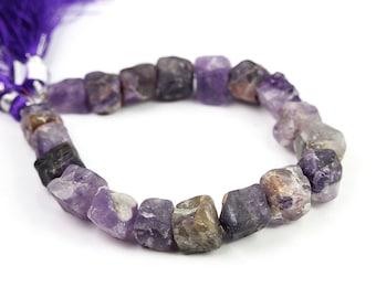 Cape Amethyst Hammered 3D Cube Beads 1/2 Strand Lavender Purple Semi Precious Gemstone