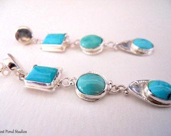 SALE - Handmade Earrings, Southwest Earrings, Sterling Silver, One-of-a-kind, Sleeping Beauty, Kingman Turquoise Earrings, Post Earrings
