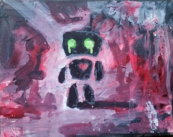 Broken Hearted Red Robot with Green Eyes Small Acrylic Painting