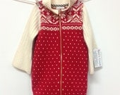 Red cotton sweater coat, baby girl, toddler coat, girl's sweater coat with snowflake motif, winter white woolen sleeves, warm stand collar