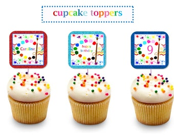 PAINT SPLATTER Party Cupcake TOPPERS ~ Personalized Printable Download