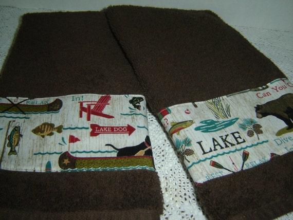 Lake Fun Hand Towel Set Chocolate Brown Fabric Panel
