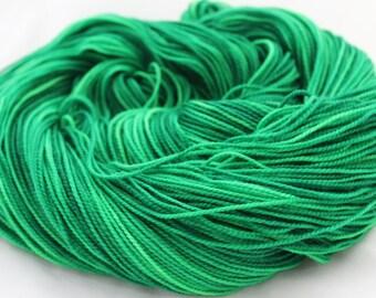 Sock Yarn - Indie dyed yarn - Superwash Merino - Bright Emerald Green - Hand Dyed Yarn - Fingering Weight - 400 yards - EMERALD FLASH