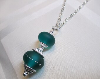 Double Lampwork Bead Necklace in Teal