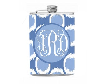 Blue flask, monogram flask, bridesmaid gift, wedding gift, bachelorette party, custom flask