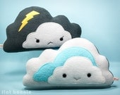 Cloud plush pillow, reversible throw pillow, cute cloud cushion, kawaii cloud toy, cloud doll, Double sided plushie, kids room decor nursery