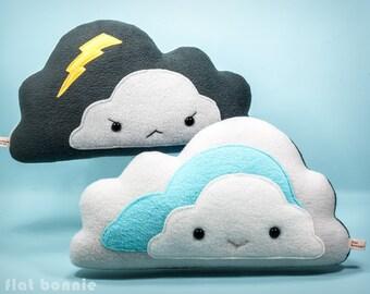 Cloud pillow reversible plushie, Storm cloud throw pillow, Cute lightning cushion, Kawaii stuffed plush soft toy, Kid room decor Flat Bonnie
