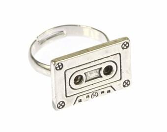 Cassette ring ring cassette of Miniblings DJ music musician mixtape tape silver