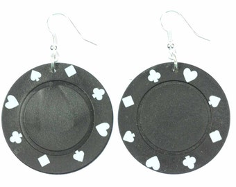 [BUNDLE] [OR00590B] Play Poker Casino Las Vegas gambling poker chip earrings Miniblings bag SW