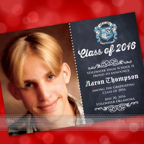 graduation invitations, chalkboard graduation invitations, high school graduation invitations, graduation announcements, IN450
