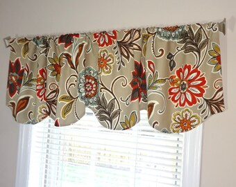 Scalloped Window Valance Topper Window Treatment Scalloped Brown Red Blue Floral Scalloped Valance