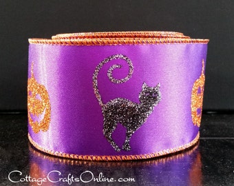 "Halloween Wired Ribbon 2 1/2"", Glittered Black Cat, Bat, Orange Pumpkin, Purple Satin - TEN YARD ROLL - ""Halloween Glitz"" Wire Edged Ribbon"