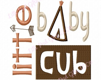 little baby cub - TeePee - Applique - Machine Embroidery Design - 6 Sizes