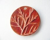 Rustic Brown Tree Branch Pendant Earthenware Clay