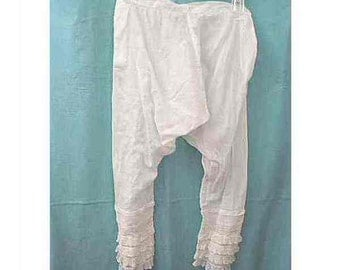 Vintage White Cotton Pantaloons Bloomers - Parts (Lacy Sleeves)