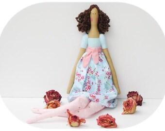Fabric doll Tilda handmade stuffed doll blue pink polka dot brunette cloth doll rag doll cute doll baby shower and birthday gift for girls
