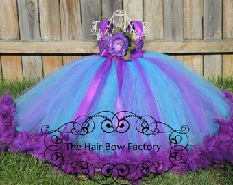 The Hair Bow Factory Purple and Turquoise Feather Tutu Dress Size 12-24 Months to Size 12