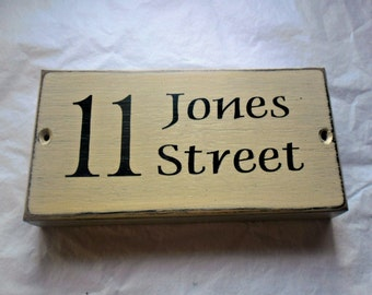 Rustic Handmade Wooden Personalised House Name Number Sign