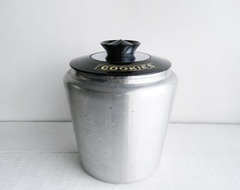 Vintage Kromex Cookie Jar Aluminum Canister with Black Lid