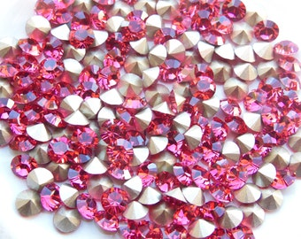 Swarovski 1028 Indian Pink 24ss Crystal Chatons Foiled
