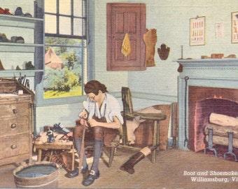 Williamsburg, Virginia, schoenmaker Shop - linnen briefkaart - ongebruikte (E)