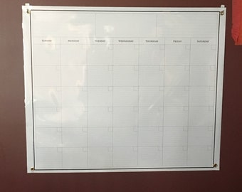 """Dry erase calendar 36"""" with eyelets in corners"""