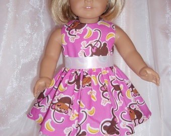 """18 Inch Doll Pink Monkey Dress, AG Doll Clothes, 18"""" Doll Clothes, Girl Doll Clothes"""