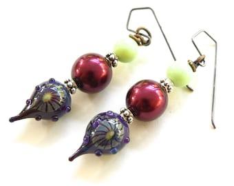 Artisan Lampwork Handmade Earrings - Glass, Pearl, and Stone