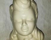 vintage 1940s white ceramic glamour girl head vase