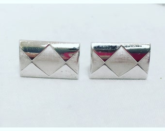 Vintage 1970s Silver Tone Rectangle Swank Cuff Links