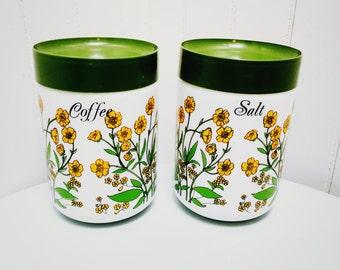 Vintage 1970s Coffee & Salt Milk Glass Canisters