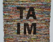 CUSTOM LISTING, Taim, Modern Recycled Art, Text Art, Mixed Media Fine Art