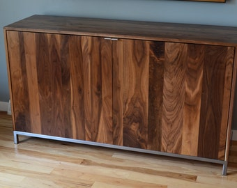 Solid walnut Credenza and steel legs